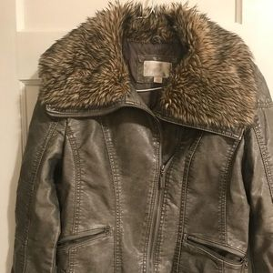 Faux Leather Jacket w/ Faux Fur Collar